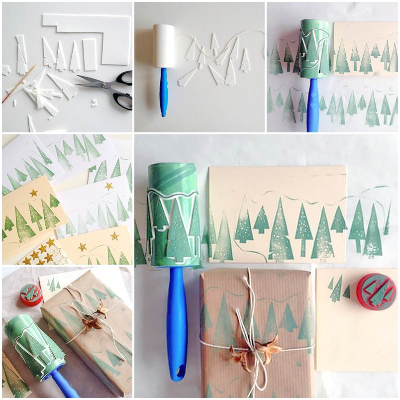 Creative-Ideas-DIY-Christmas-Tree-Stamps-with-Lint-Roller